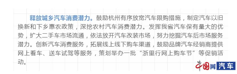 浙江:鼓励杭州有序放宽汽车限购措施