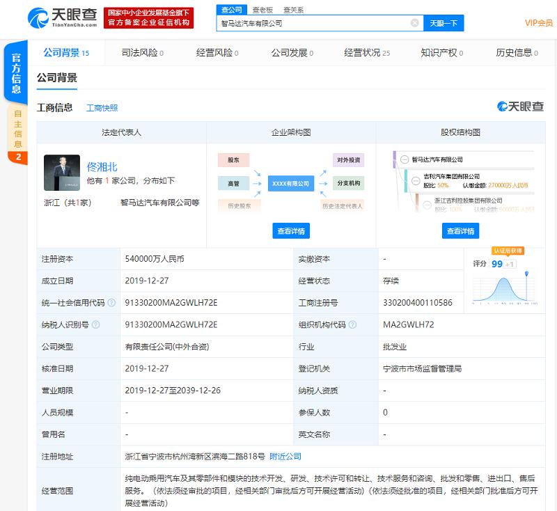 吉利奔驰合资公司智马达正式成立 注册资本54亿元