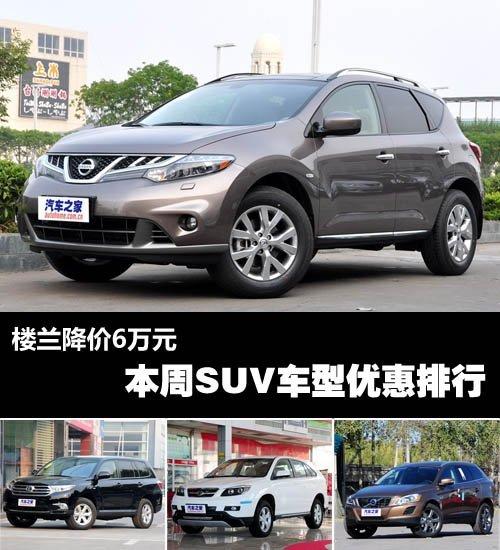 楼兰降价6万元 本周SUV车型优惠排行高清图片
