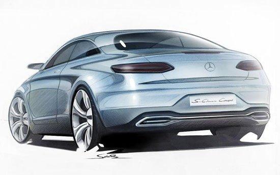 曝奔驰s级coupe设计草图
